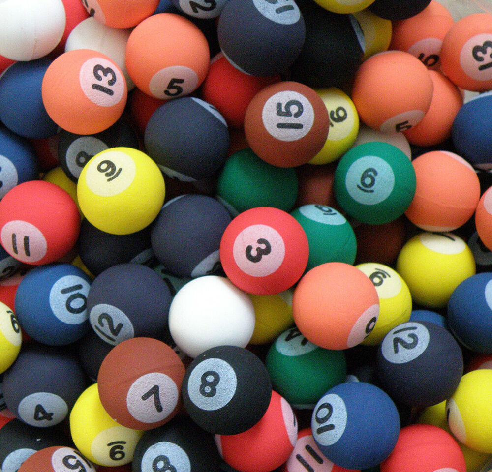 Billiard Pool Style Rubber Bouncy Balls Fun Gift Party
