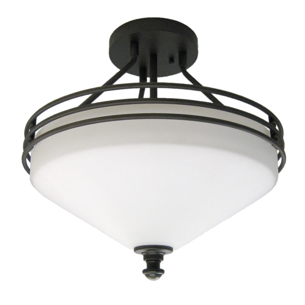 oil rubbed bronze 3 light semi flush ceiling fixture ebay. Black Bedroom Furniture Sets. Home Design Ideas