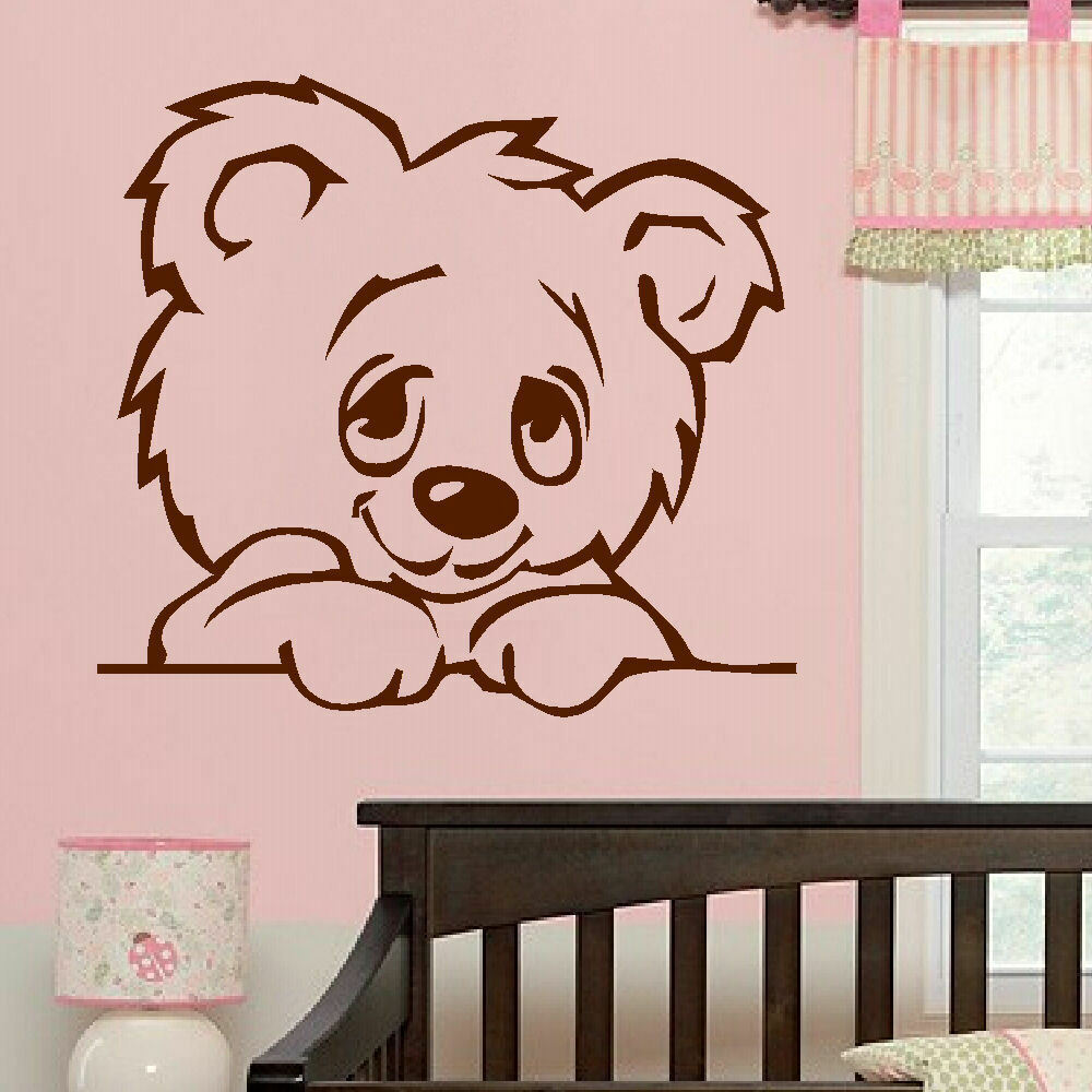 Large nursery baby teddy bear wall mural giant transfer for Baby nursery wall mural