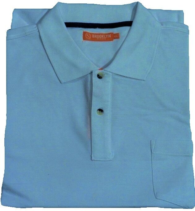 New mens big size brooklyn polo shirt with pocket 2xl 3xl for Two pocket polo shirt