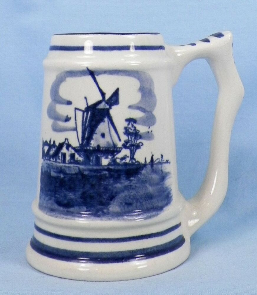 Vintage Delft Windmill Amp Flowers Small Tankard Mug Stein Decorative Holland Ebay