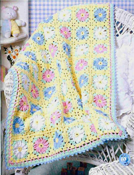 Crochet Baby Blanket Patterns Popcorn Stitch : Crochet Pattern Baby Pram Blanket Pretty Daisy eBay