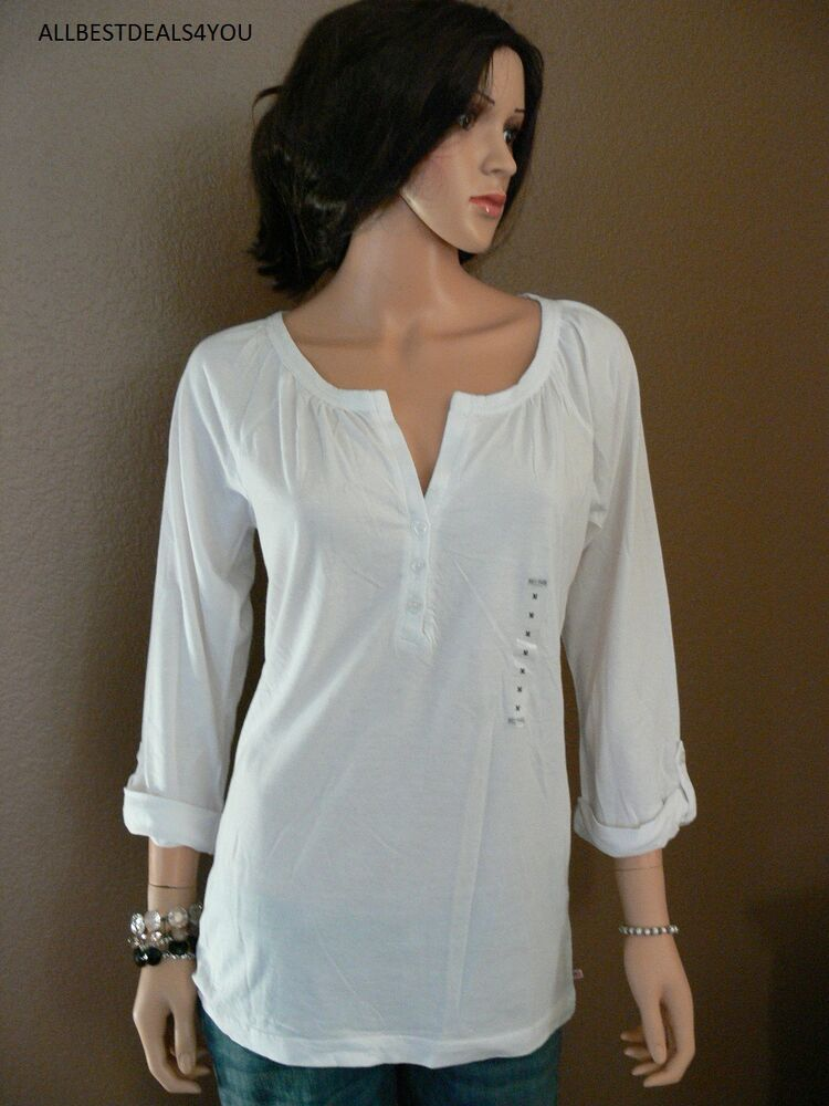 nwt polo jeans women 39 s 3 4 sleeve t shirt top sz m white ebay. Black Bedroom Furniture Sets. Home Design Ideas