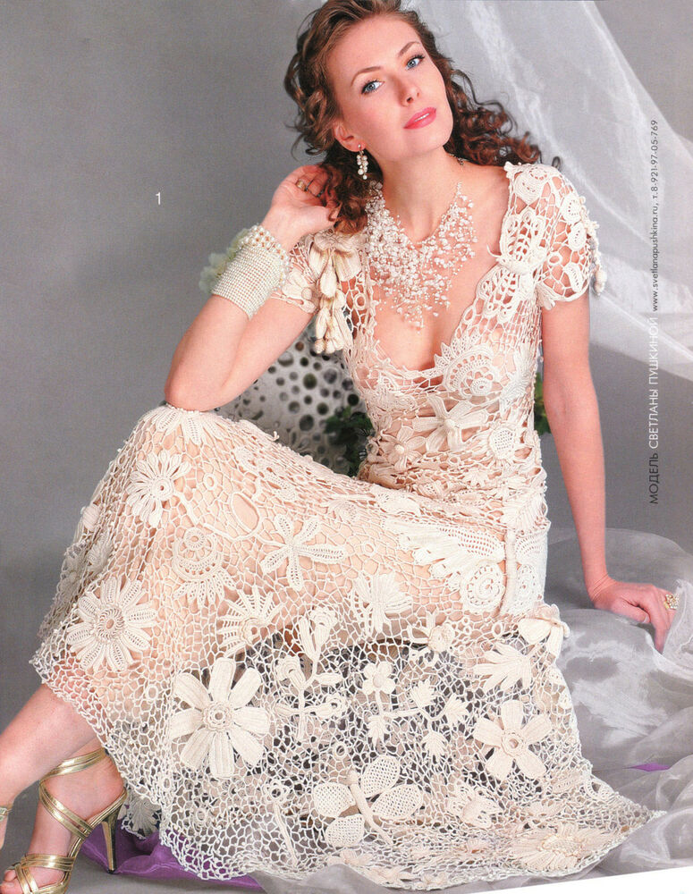 Russian crochet knitting patterns book wedding dress for Crochet wedding dress pattern
