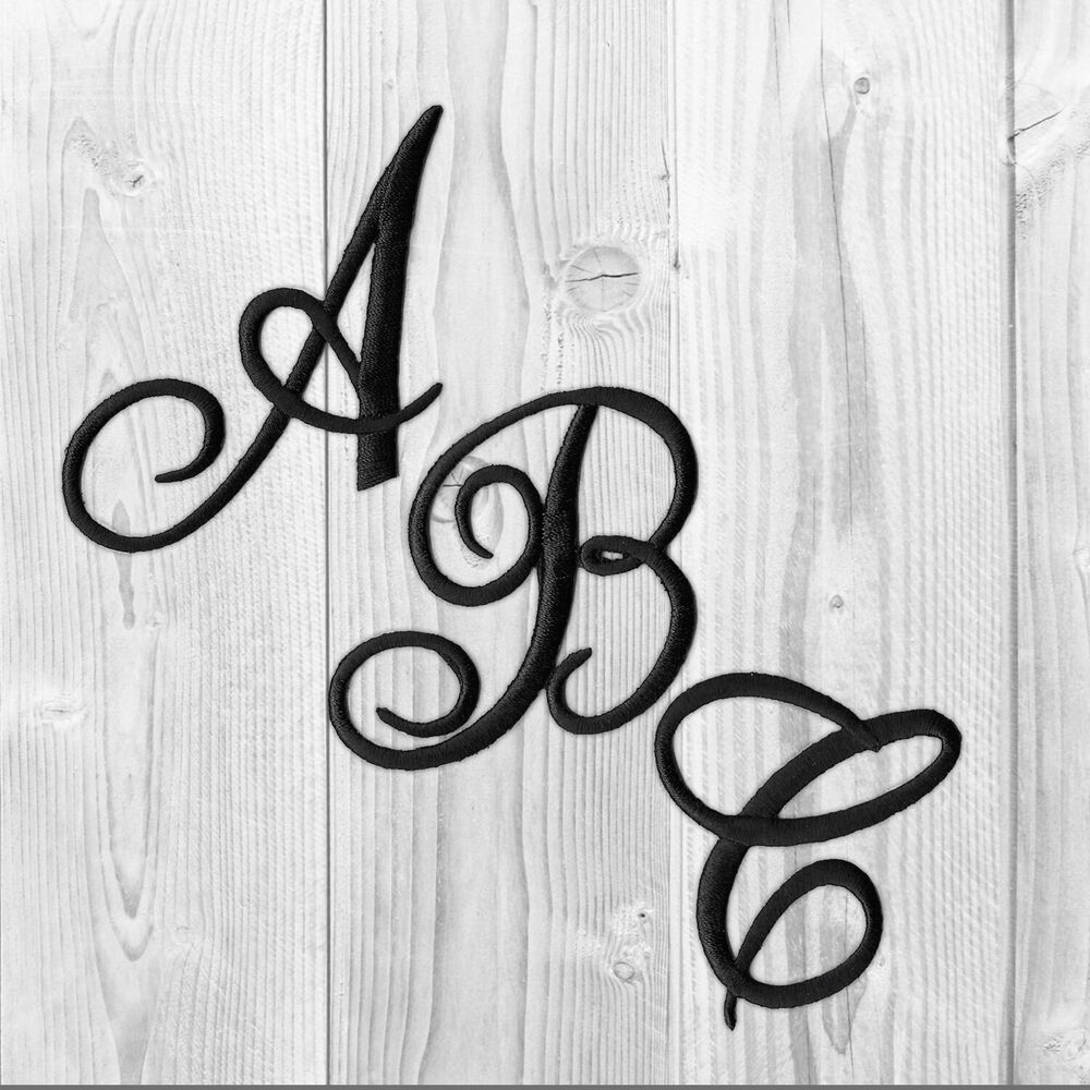 Embroidered iron on script letters sold separately white for Large initial letters
