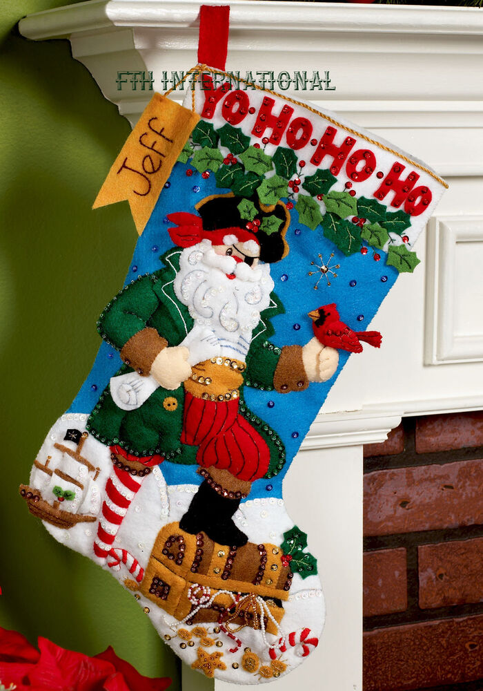 "Bucilla Pirate Santa ~ 18"" Bucilla Felt Christmas Stocking ..."