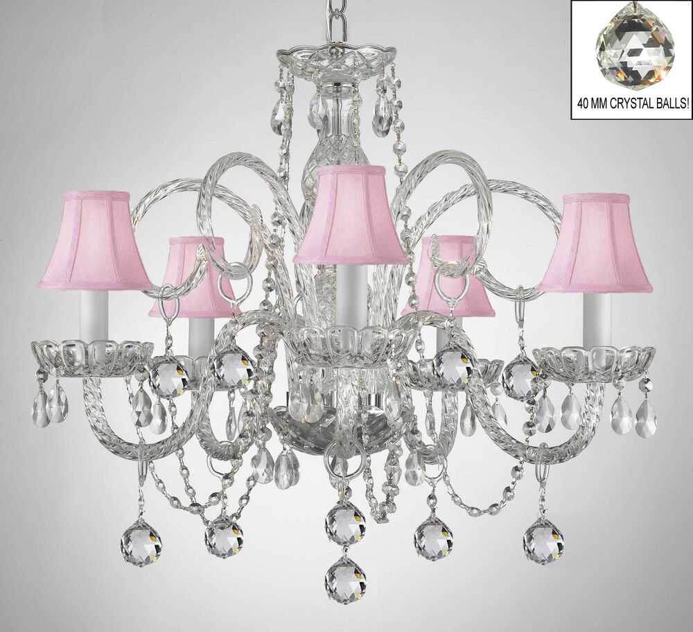 Crystal Chandelier With Pink Shades Crystal Balls Ebay