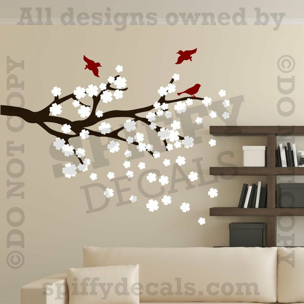 Cherry Blossoms Branch With Birds Vinyl Wall Decal Decor