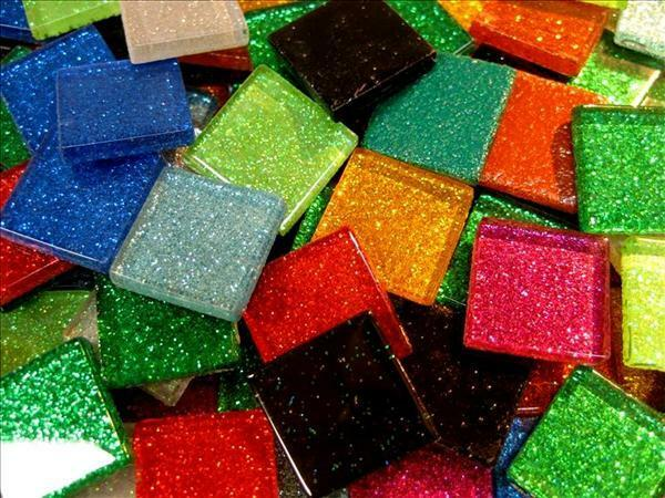A mix of mosaic glitter tiles arts and crafts card for Arts and crafts glitter