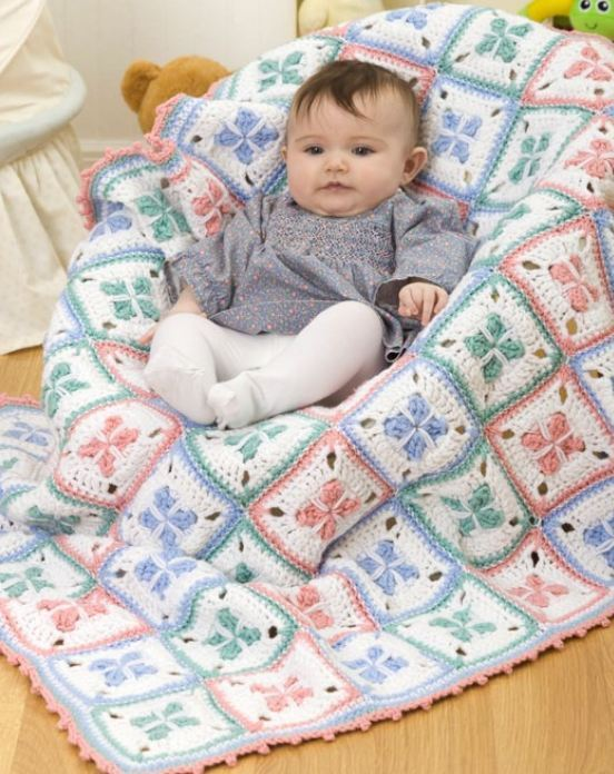 Crochet Baby Blanket Patterns Popcorn Stitch : Crochet Pattern Baby Blanket Pram Pretty Snug eBay