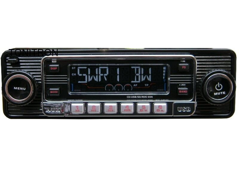 retro usb sd cd mp3 retro design look oldtimer autoradio. Black Bedroom Furniture Sets. Home Design Ideas