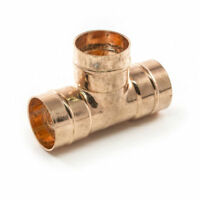 2 x 15mm COPPER EQUAL TEE COUPLING FITTING SOLDER RING