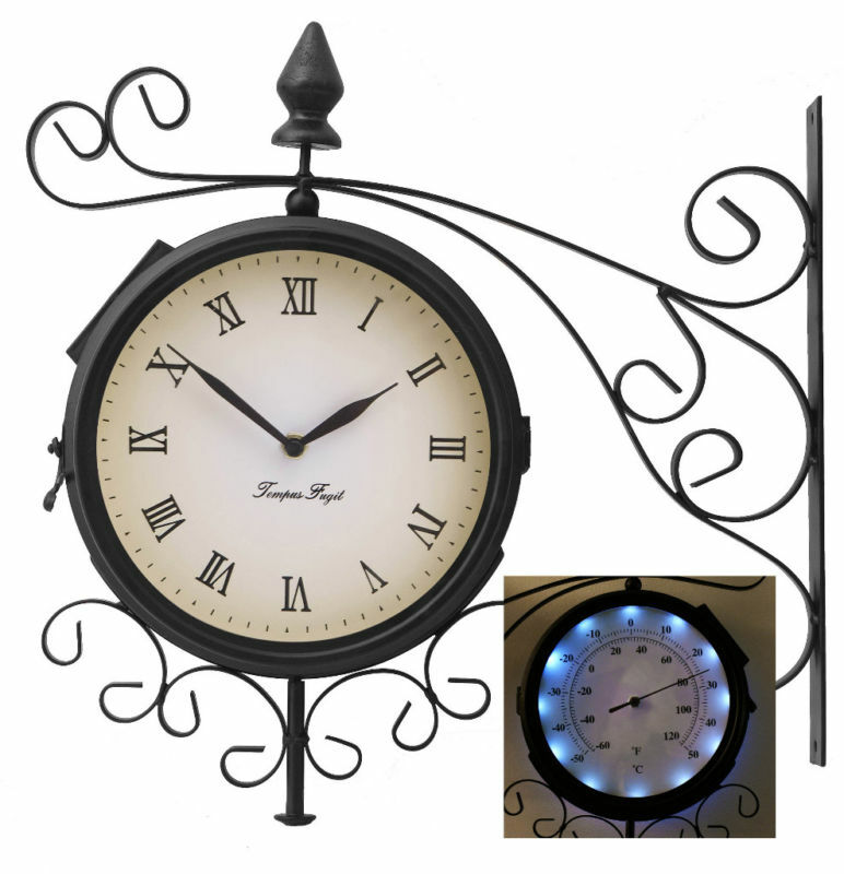 bracket outdoor solar powered leds wall clock thermometer garden