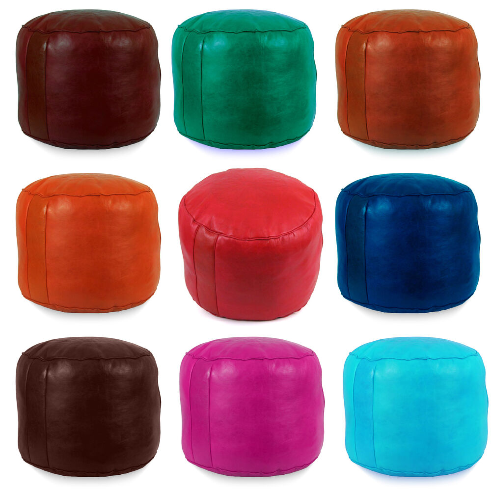 moroccan leather pouf ottoman footstool poof pouffe ebay. Black Bedroom Furniture Sets. Home Design Ideas