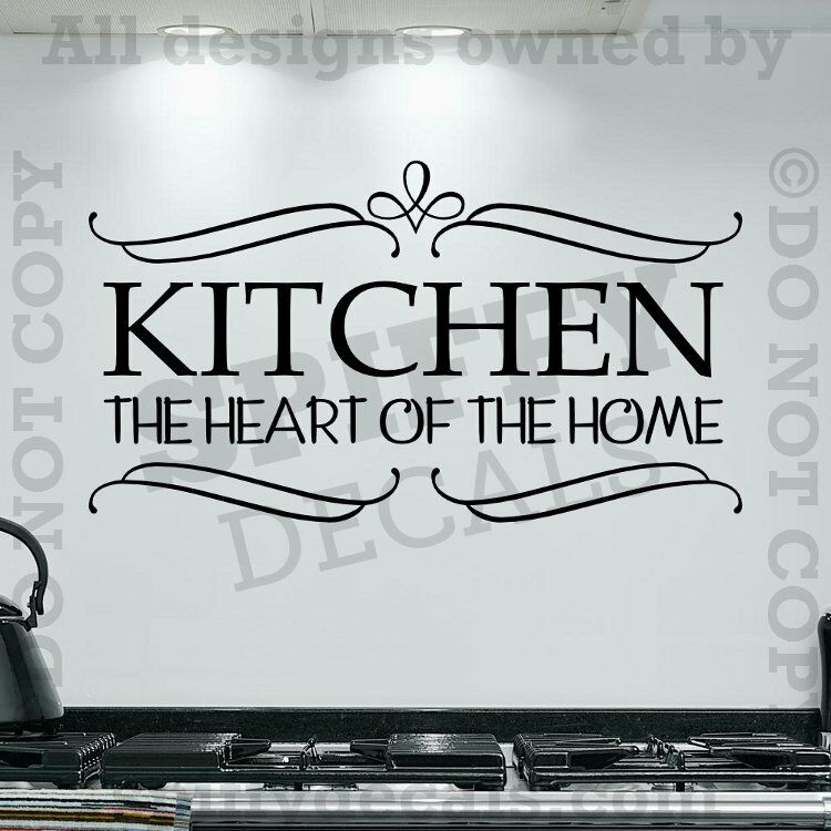 Kitchen The Heart Of The Home Quote Vinyl Wall Decal Decor