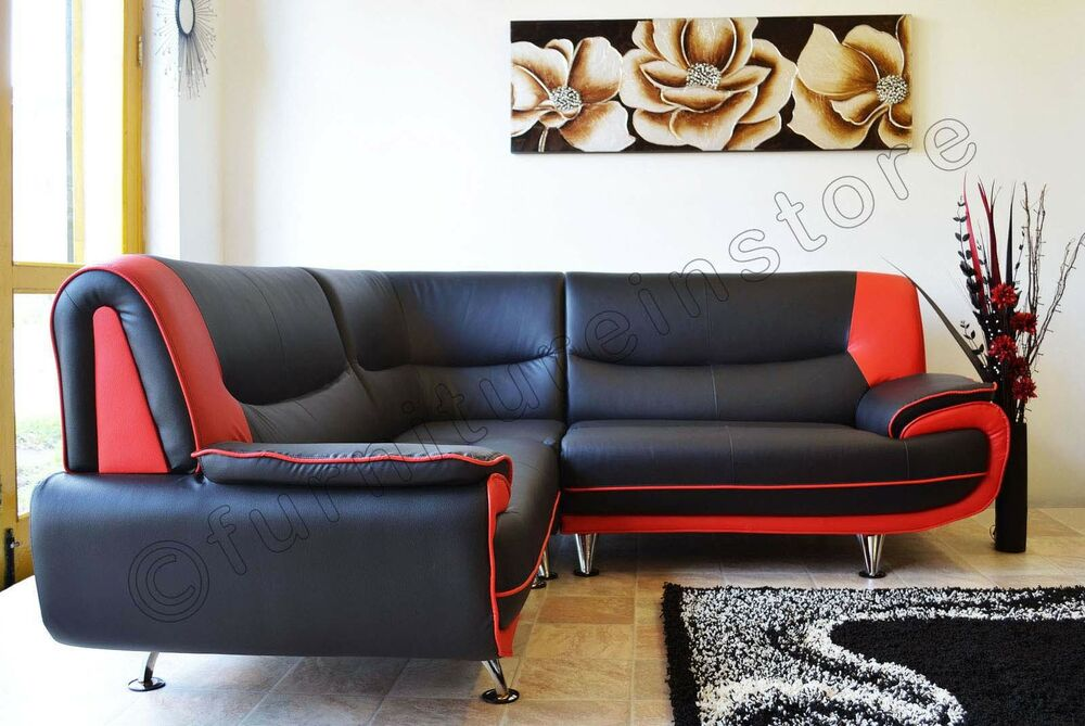 New Passero Faux Leather Corner Sofa Suite Black White BlackRed - Black leather corner sofa