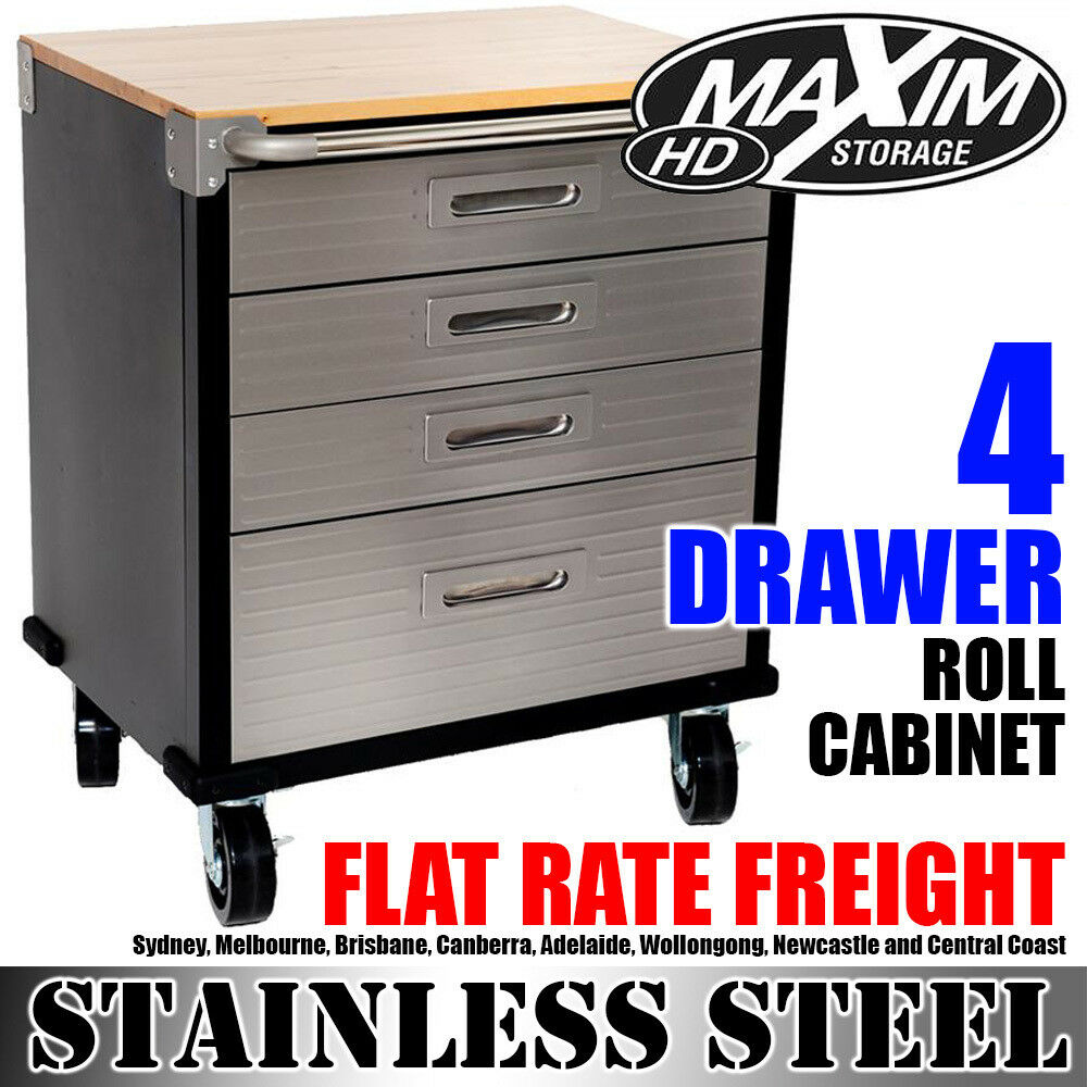 MAXIM 4 Drawer Roll Cabinet Chest Tool Box Roller Toolbox Storage Furniture  Shed | EBay