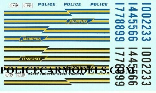classic 1 18 police decals tennessee state patrol memphis tn police ebay. Black Bedroom Furniture Sets. Home Design Ideas