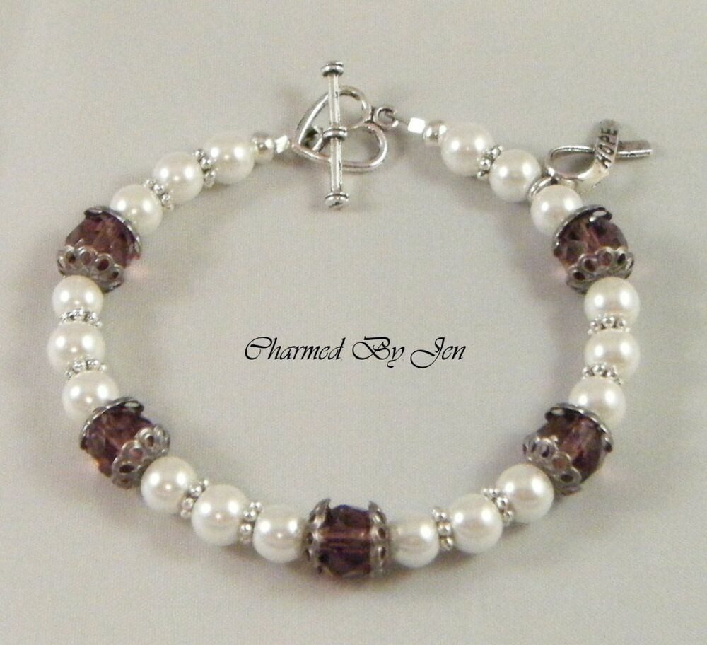 fibro bracelet new fibromyalgia awareness glass pearl bracelet w 6447