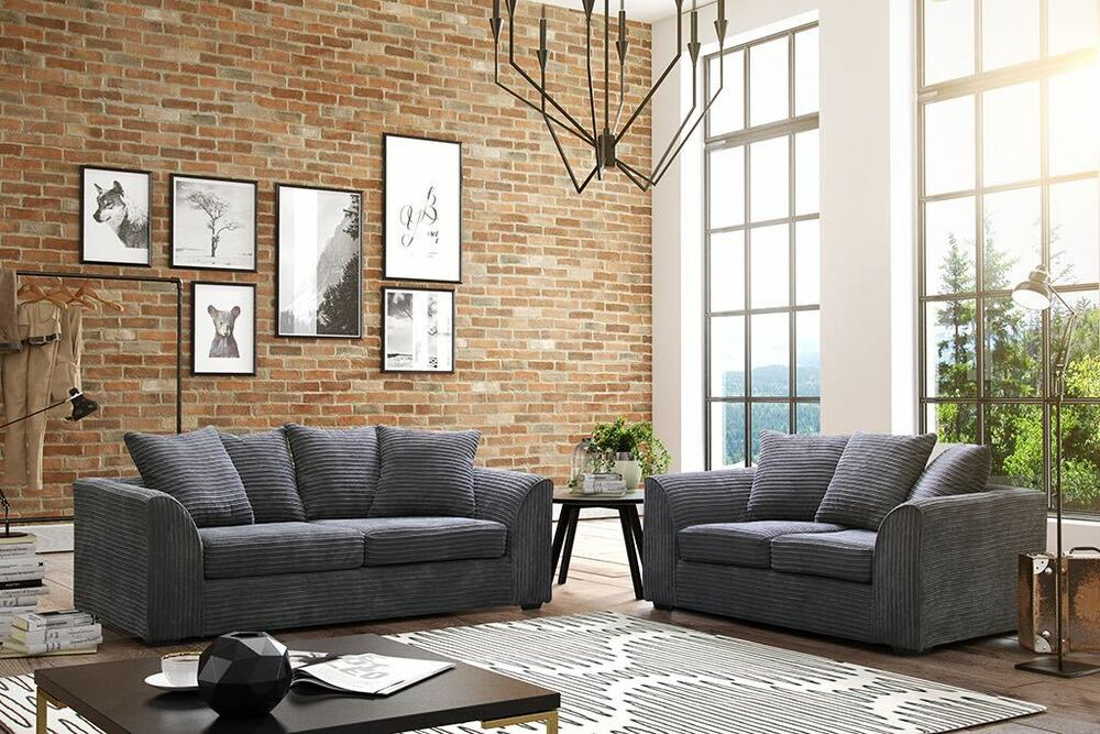 Jumbo Cord Grey Corner Sofas 3 Seater 2 Sofa Swivel Chairs Stools Ebay