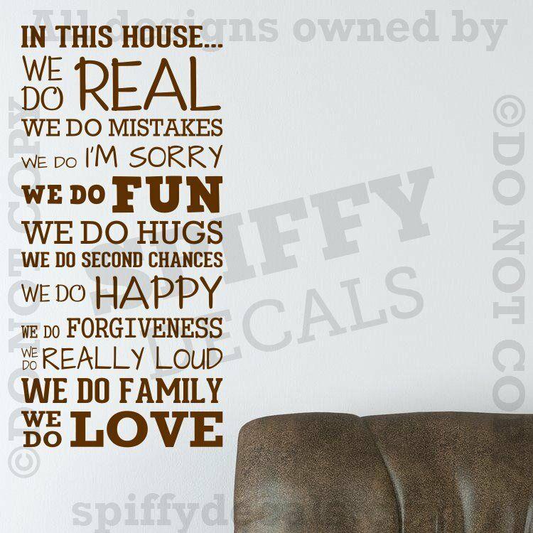 IN THIS HOUSE FAMILY WE DO LOVE FUN REAL V3 Quote Vinyl ...