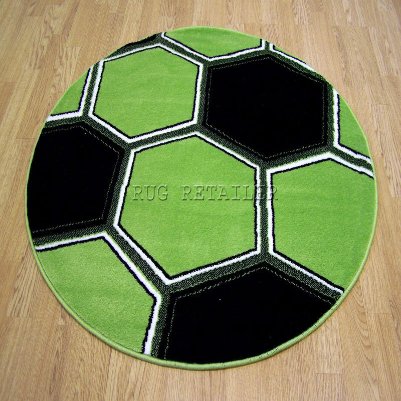Childrens / Kids Round Glow In The Dark Football Rugs In