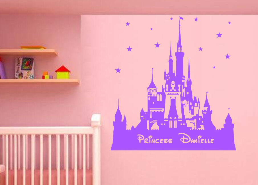 Personalised princess disney castle wall stickers for Castle wall mural sticker