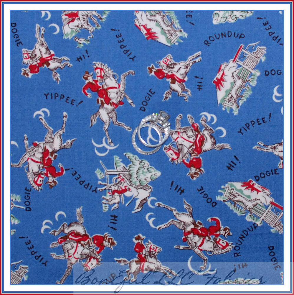BonEful Fabric FQ Cotton Quilt Blue Red Country Cowboy SM Horse Ranch ...