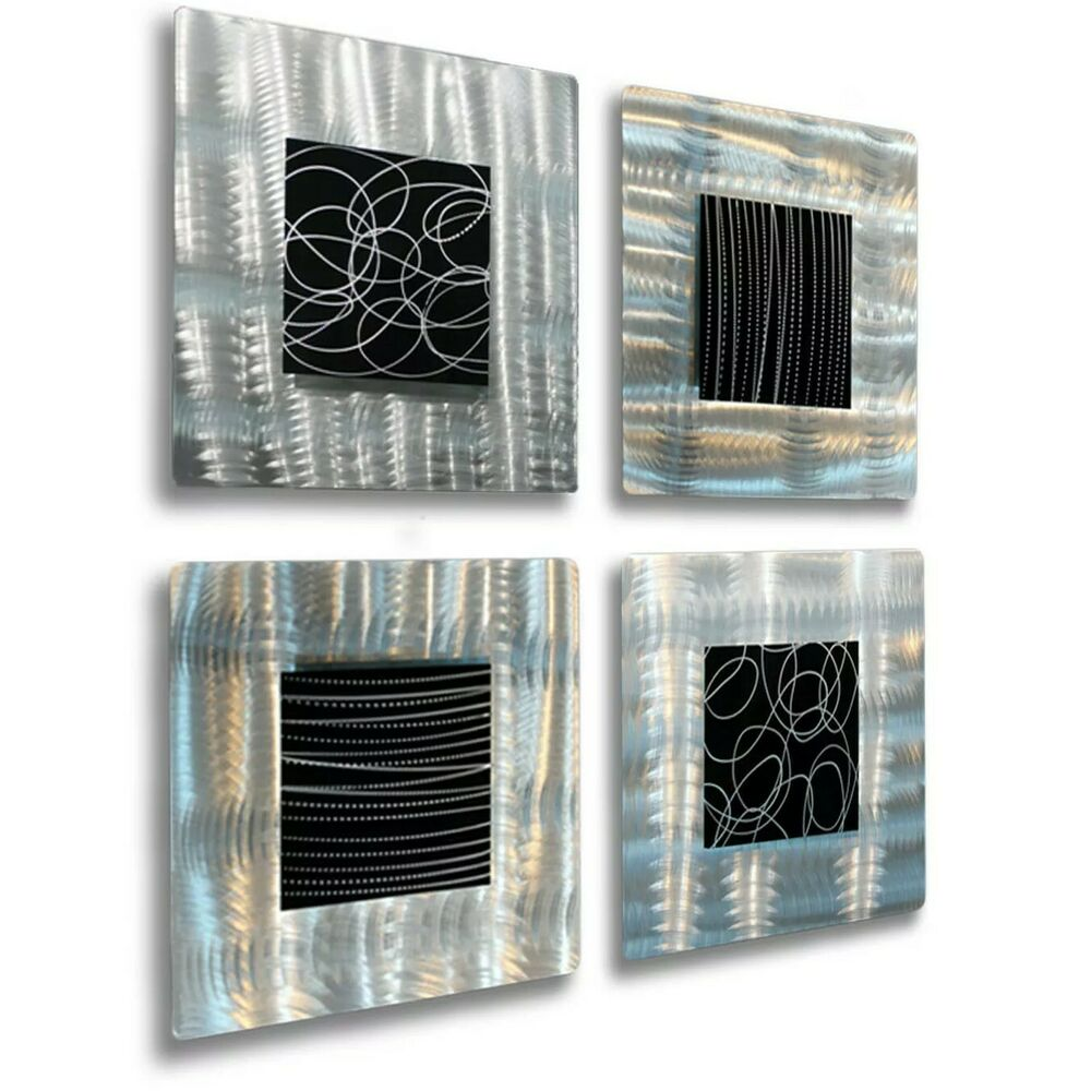 Contemporary Silvers: Modern Abstract Black & Silver Metal Accent Wall Decor
