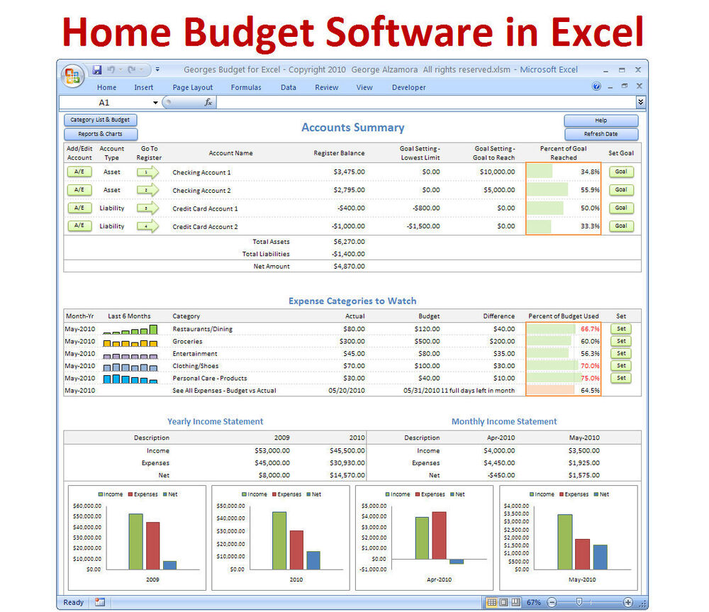 Personal Budgeting Software Excel Budget Spreadsheet ...