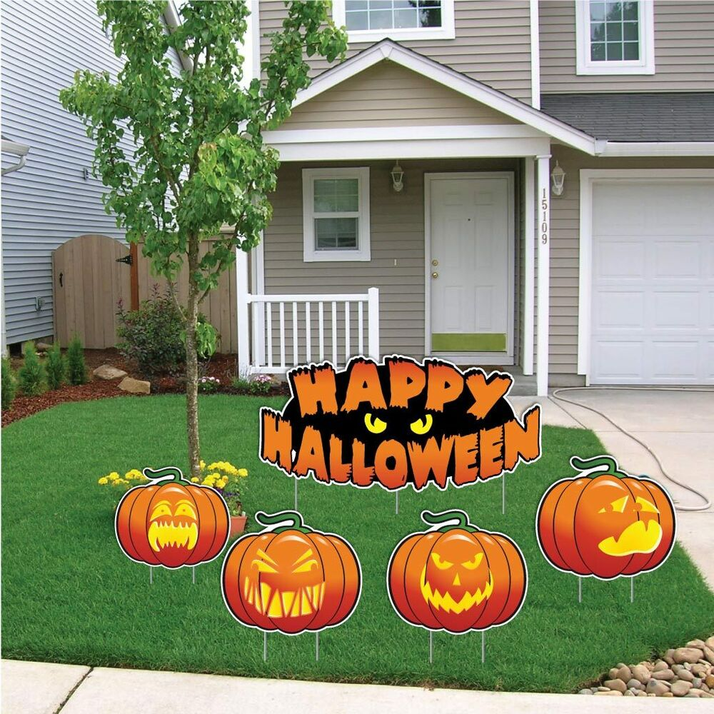 "Halloween Outdoor Yard Decorations: ""Happy Halloween"" Pumpkin Halloween Yard Decoration Card"