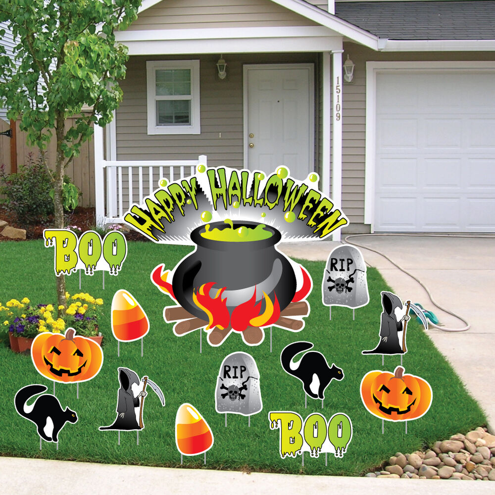 "Halloween Outdoor Yard Decorations: ""Happy Halloween"" Witches Cauldron Halloween Yard"