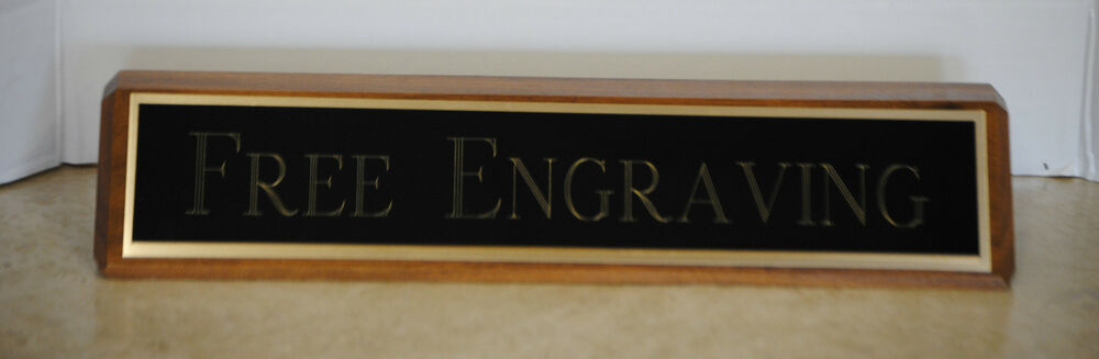Desk Name Plate Walnut Base Colored Brass Plate With