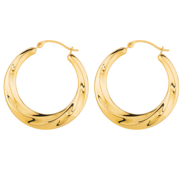graduated twisted round hoop earrings real 14k yellow gold. Black Bedroom Furniture Sets. Home Design Ideas