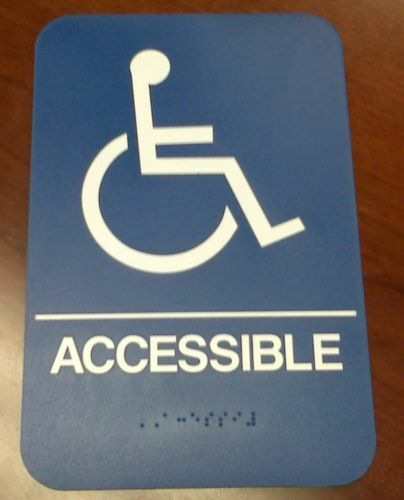 handicap accessible braille restroom bathroom sign a d a new blue