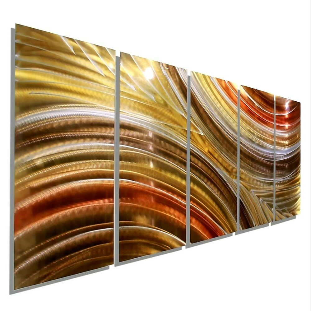 Metal Sculptures And Art Wall Decor: Modern Abstract Bronze Copper Painted Metal Wall Art