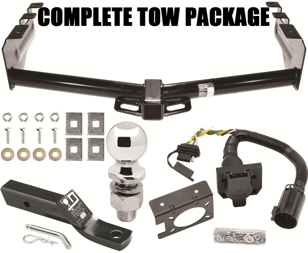 complete trailer hitch package w 4 way 7 way wiring. Black Bedroom Furniture Sets. Home Design Ideas