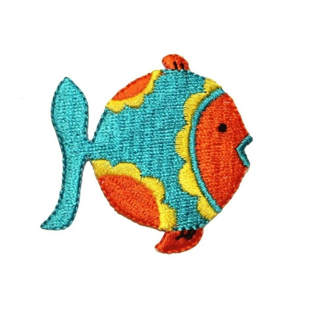 Id 0187 tropical fish patch fishing diy craft embroidered for Iron in fish