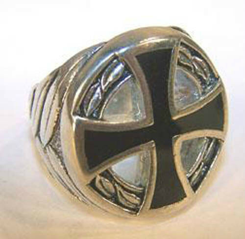 deluxe iron cross circle silver biker ring br234 mens