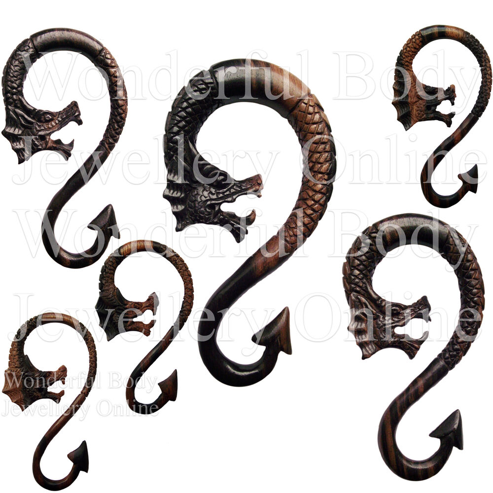 1 x s long spiral ebony wood dragon ear plug choice of for Piercing orecchio dilatatore