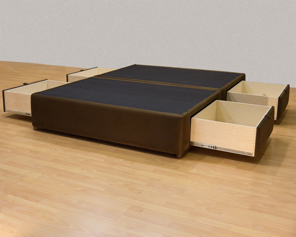 King platform bed with storage drawers uphostered storage for Pedestal bed
