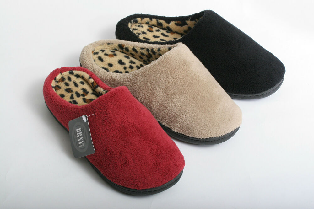 new women cozy leopard print clog house bedroom slippers read sizing information ebay. Black Bedroom Furniture Sets. Home Design Ideas