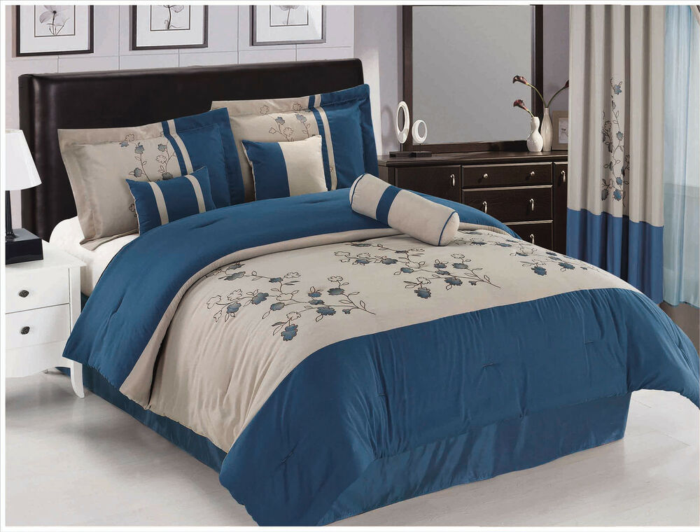 15pc Blue Provence Embrodiery Flowers Comforter Set King