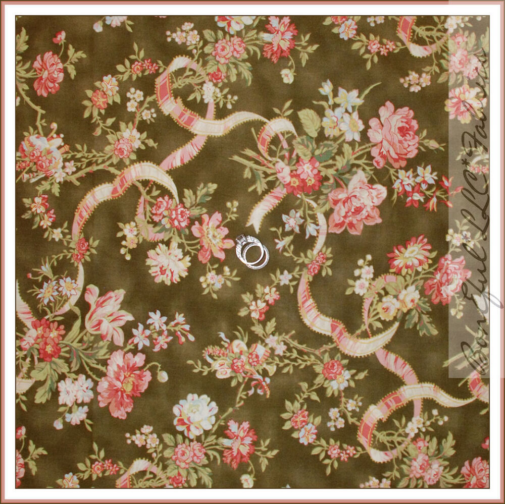 Boneful fabric fq cotton quilt green pink cream flower for Victorian floral fabric