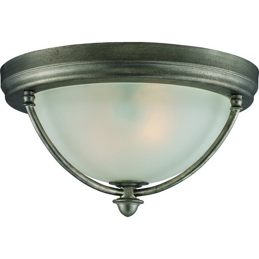antique silver 2 light flush ceiling fixture ebay. Black Bedroom Furniture Sets. Home Design Ideas