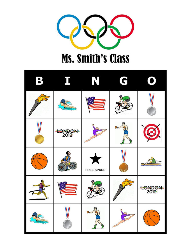 Details About The Olympics Bingo Personalized Birthday Party Olympic Activity Game Cards