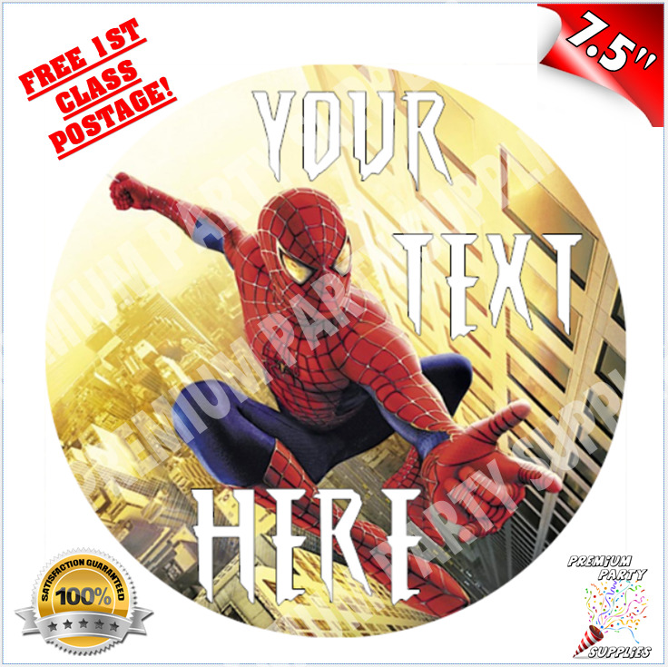 Spiderman Personalised Quality Edible Icing Cake Topper 7