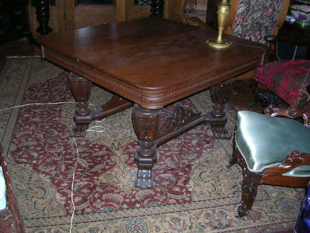 Finely carved antique quartersawn oak dining table great for Center table legs