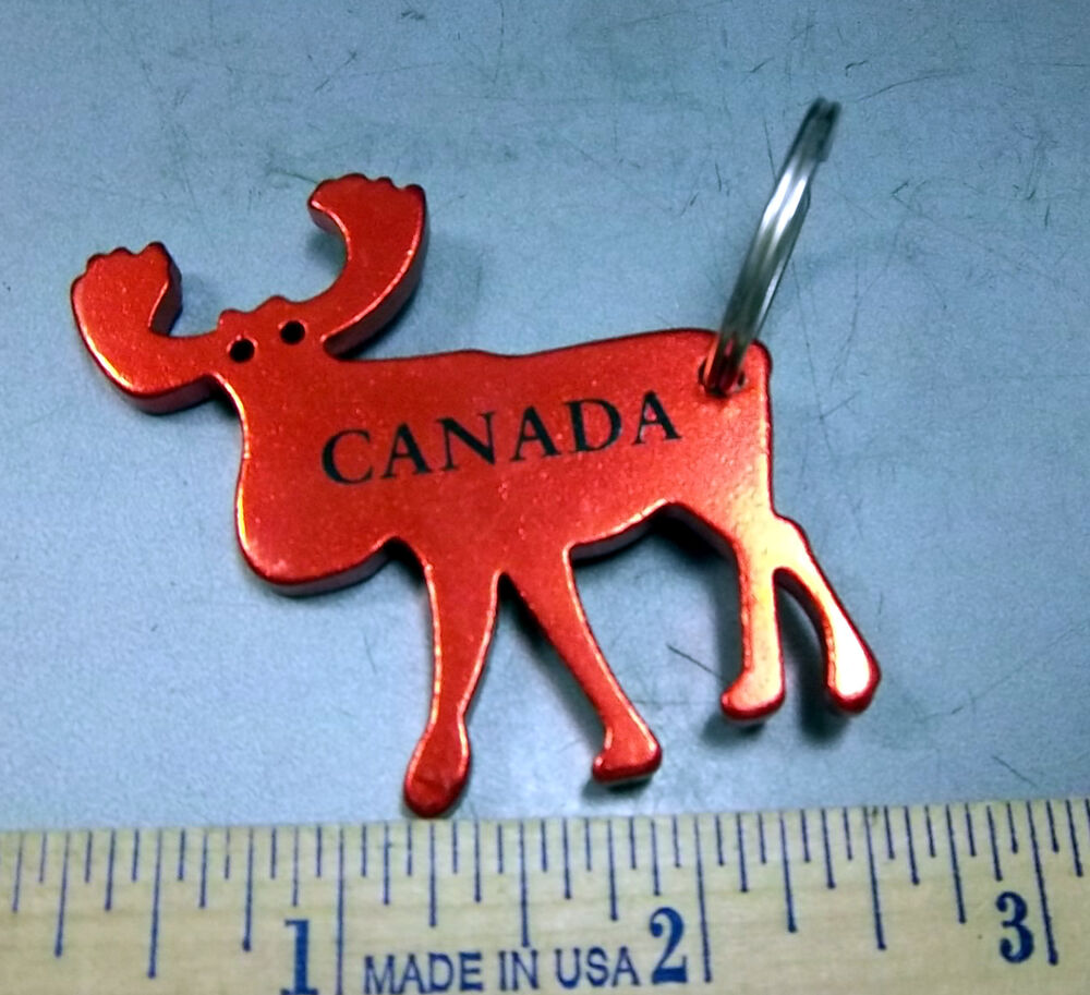 metal moose shape canada keychain the antlers are a bottle opener red unique ebay. Black Bedroom Furniture Sets. Home Design Ideas