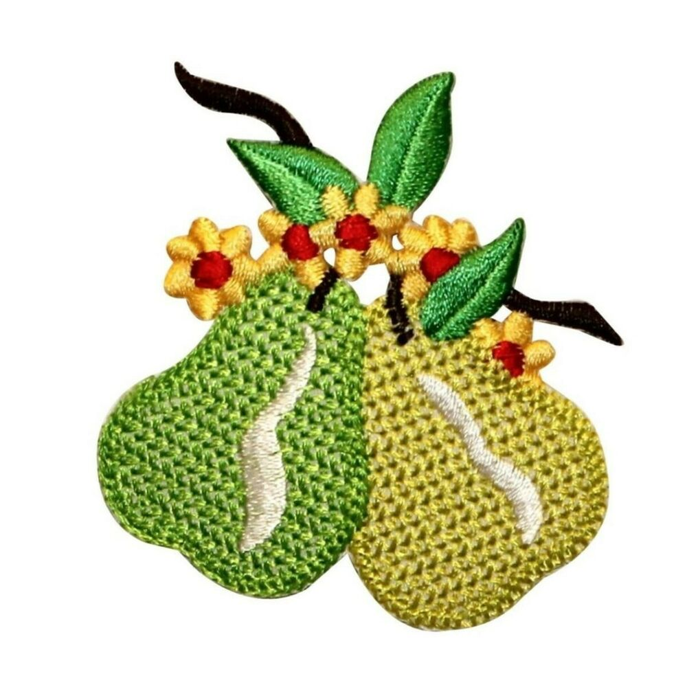 Id 1166 pear fruit food embroidered iron on badge applique for Applique lumineuse cuisine